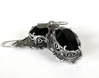 Black Gothic Crystal Earrings Swarovski Black Earrings Black Gothic Wedding Earrings Victorian Gothic Jewelry