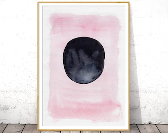 Blush Watercolor Wall Art, Pink Black Print, Large Printable Poster, Modern Abstract Art, Circle Poster, Digital Download, Modern Watercolor