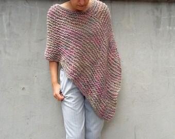 Loose knit Poncho Knit poncho Spring summer poncho mohair poncho soft pastel multicolor poncho