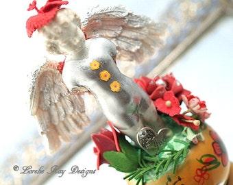 Angel Of Joy Frozen Charlotte Guardian Angel Sculpture Original Assemblage Art Doll Lorelie Kay Orginal