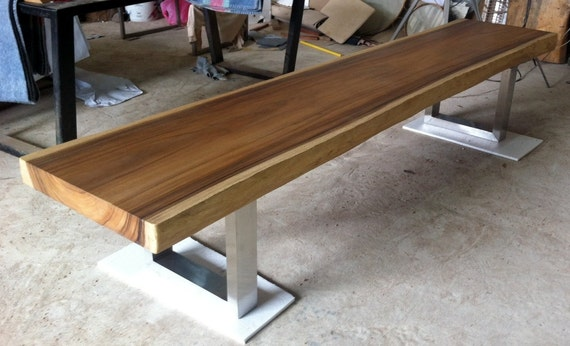 These 6 Pieces Of Colorful Furniture Are Absolute Must Haves: Live Edge Bench Table Reclaimed Acacia Wood Solid Slab