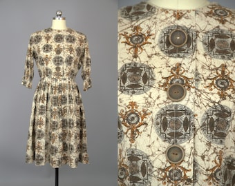 50s Mosaic Day Dress Harvest Print Big Wood Button Dress
