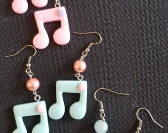 Pastel music note earrings