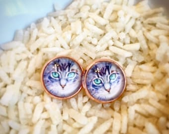 Rose Gold Cat Earrings, Cat Earrings, Cat Studs, Rose Gold Earrings, Cat Lover Earrings, Crazy Cat Lady Earrings, Cat Lover Studs, Cats