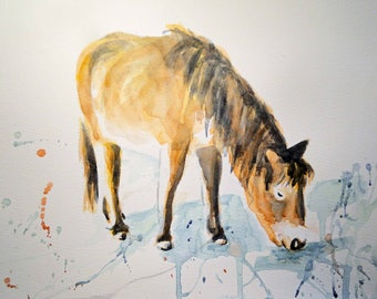 Pony Graze Art Watercolor Horse Original Painting