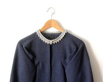 Lace Collar Silver Necklace Crochet Jewelry Peter Pan Collar