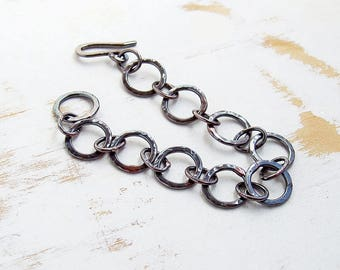 Circle Link Bracelet in Oxidised Copper, Simple Everyday Artisan Jewellery