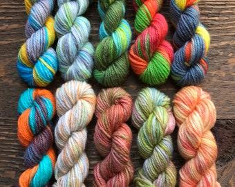 Hand Dyed Sock Yarn Mini Skein Set #140 -- 10 Mini Skeins/25 Yards Each/5.5 Grams Each