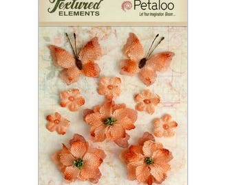 Set of 10 ornaments, flowers, butterflies orange fabric with Petaloo scrapbooking embellishment *.