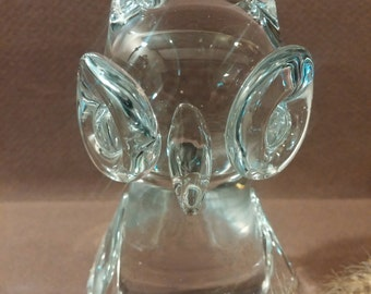 Vintage Art Glass Owl Paperweight. Retro Office Decor. Desk Accessories. Clear Glass Owl Figurine. Home Decor. Collectibles.