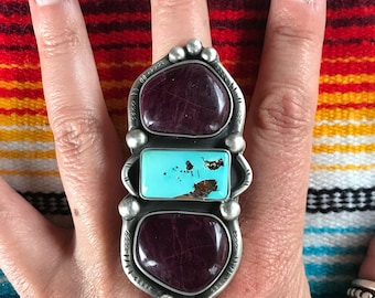 XLarge ring. Purple Alunite and Candelaria Hills Turquoise. Heavy backed, Sterling Silver, your size, free shipping in the USA.