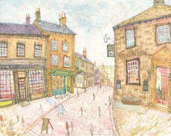 Haworth Yorkshire Art Print, Haworth Painting, Main Street Shops Cafe Pub, Signed Giclee Art, Bronte Sisters Yorkshire Moors Clare Caulfield
