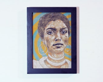 Original framed portrait painting of Actor Vonetta McGee watercolor,   ink & colored pencil