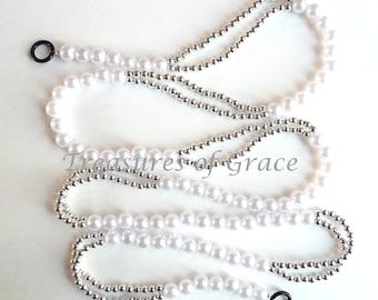 Beaded Garland Swag Handmade Wedding White Silver Beads Holiday Garland from TreasuresOfGrace