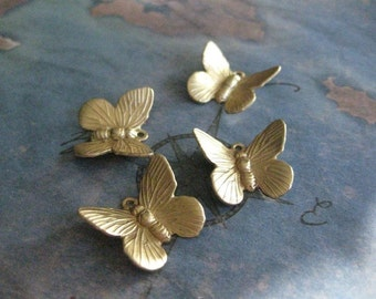 4 PC Raw Brass Dimensional Butterfly Charm / Drop Finding - X0004