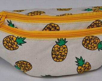 Fanny Pack pineapple yellow zip, hip bag,bum bag,belt bag,hip pouch,bags & purses festival bag, concerts bag, festival bag , camping bag