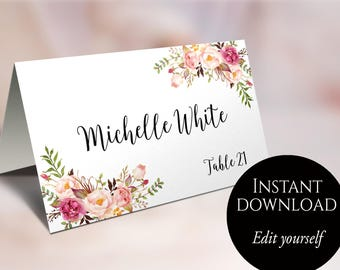Place cards etsy no wedding place cards place card template editable reserved seating cards folded name solutioingenieria Image collections