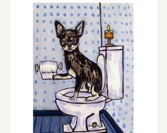 Chihuahua in the bathroom signed dgo art print gift modern artwork
