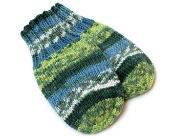 Thumbless Mittens. Blue Green Knit No Thumb Cordless Baby Mitts. Wool-Free Winter Mittens on String. Infant 9 to 12 Months Hand Warmers