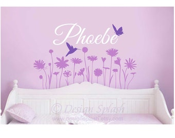 FLOWER GARDEN with Personalized Name Hummingbird and Butterfly Vinyl Wall Decal Set Girl's Room BF-102