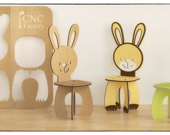 RABBIT CHAIR   Cnc Template Cutting File   Wooden Cardboard Step Stool    Aninimal Rabbit Chair