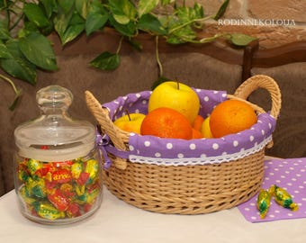 Kitchen basket Wicker kitchen storage Basket with liner Purple liner Purple basket Fruit Bread basket Wicker decor Bread storage Wicker gift