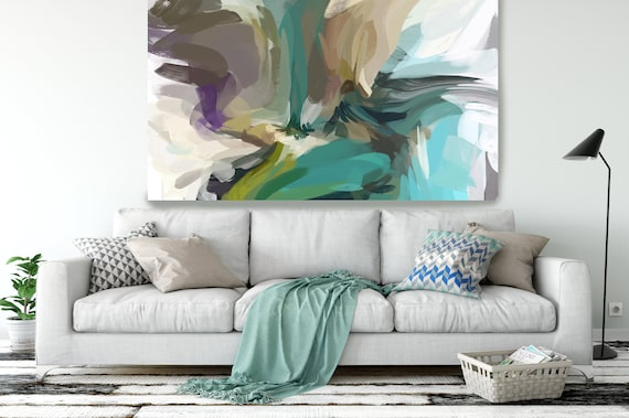 "The Color MovemenT 3, Modern Green Canvas Art Print Painting Green Abstract White Green Decor up to 80"" by Irena Orlov"