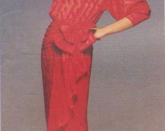 80s Kasper Womens Draped Evening Dress Vogue Sewing Pattern 1510 Size 14 Bust 36 Formal Evening Gown Vogue American Designer Patterns