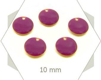 6 sequins 10mm purple SEC23 charms