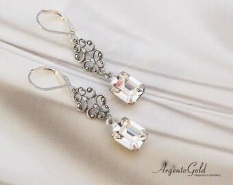 Regency Style Earrings, Vintage Drop Earrings, Edwardian Earrings, Antique Silver Connector, Clear Swarovski Crystal, Art Deco, Handmade UK