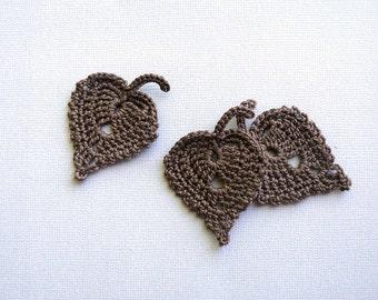 3 Crochet Leaf Appliques -- Chocolate Brown Birch Leaves