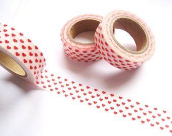 Red Hearts Washi Tape - Cute Red Hearts Washi Tape - 10 mt - Decorative Paper Tape