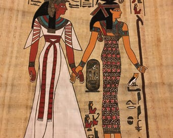 Queen Nefertari being led by goddess Isis to the god of resurrection