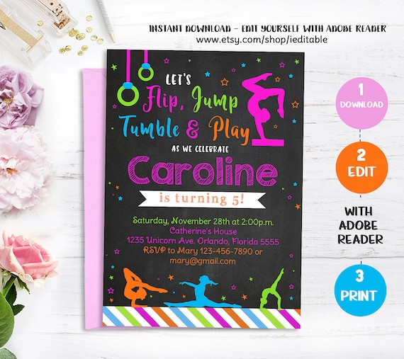 Gymnastic birthday invitation gymnastics chalkboard invite gymnastic birthday invitation gymnastics chalkboard invite girl invitations party editable invitations template instant download solutioingenieria Choice Image