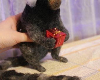 MADE TO ORDER  needle felted Monkey Pet Portrait miniature handmade unique