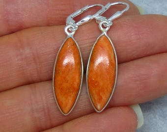 Italian Coral Leverback Earrings - Sterling Silver - Marquise Simple Lightweight Classic Long - SU181501 - Free Shipping