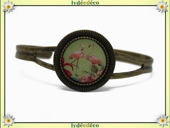 Retro vintage exotic Flamingo Pink flamingo bronze resin green rose bronze adjustable 20mm Locket