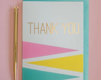 Thank you gold foil greeting card