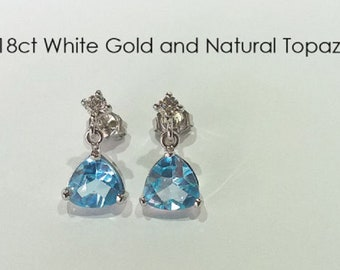 18ct 18k 750 White Gold Natural Topaz and Natural Diamond Earrings