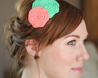 Mint and Coral Double Rose Headband for Women and Teens
