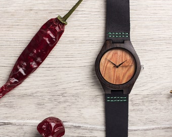CHRISTMAS Sale Ebony CHILLY Wood Watch by WOODEER, designed in Europe. Hand Watch.