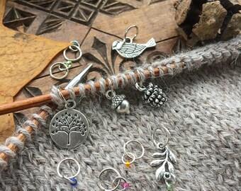 Woodland knitting II. - set of 10 handmade stitch markers