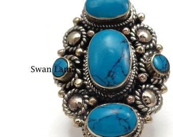 Turquoise/ Coral  Statement Ring