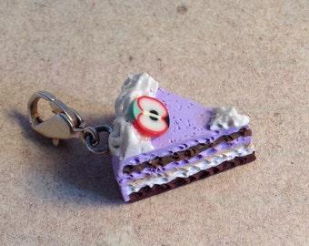 Cake piece blueberry apple, purple pie, charm, pendant