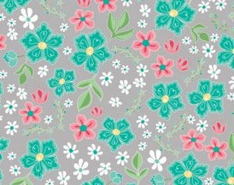 Flora and Fawn, Flora Main Gray cotton woven fabric by Riley Blake Designs