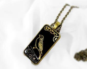 Steampunk bird pendant Steampunk bird necklace Bird pendant bird necklace Watch Parts pendant Watch parts necklace steampunk heart
