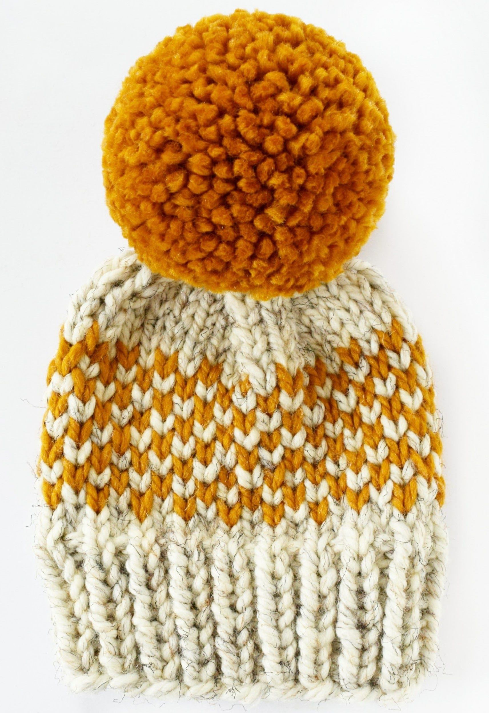 Hat Knitting Pattern // Chunky Pom Pom Hat // Fair Isle Hat Pattern ...