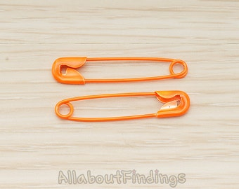 BSC277-01-OR // Orange Safety Jewelry Painted Safety Pin, 2 Pc