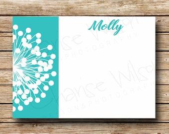 Dandelion Flat Card - Note Card -  PRINTABLE Digital File or PRINTED