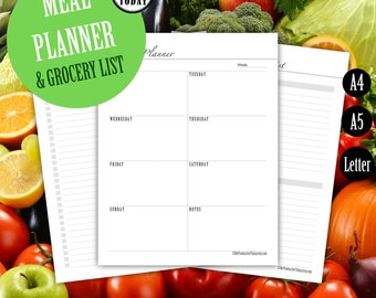 Meal Planner, Weekly Meal Planner Printable, Grocery List, Fitness, Calorie, Menu Planner, Planner Inserts, Printable Inserts, A4 A5, Letter